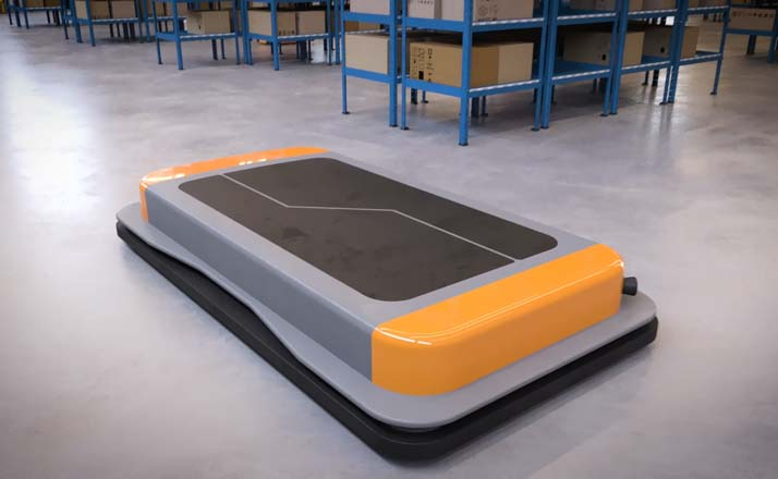 AGVs and AMRs for automated flow of goods in warehouses, parcel distribution centers and production